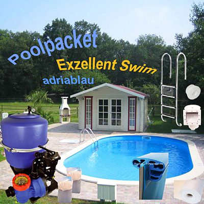 Exzellent Ovalbecken Set Swim 800x400x150 cm - Folie adriablau
